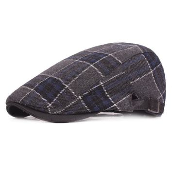 Mens Thicken Woolen Grid Warm Beret Caps Newsboy Tweed Plaid Gatby Painter Forward Hat Adjustable