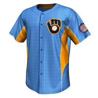 Majestic Milwaukee Brewers Cooperstown Collection Team Leader Button-Up Jersey - Light Blue