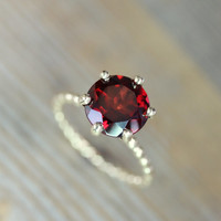 SIZE 7 Ready To Ship, Crimson Red Garnet RIng and Recycled Gold Ring, Six Prong Solitaire Ring in 14k Yellow Gold, Art Deco