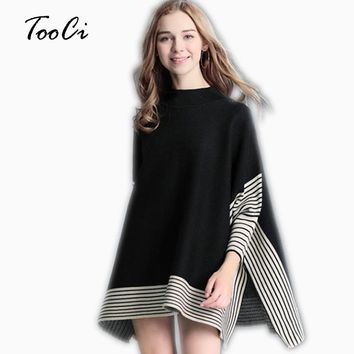 Women Ponchos And Capes Sweaters And Winter Casual Pullover Shawl Female Batwing Sleeve Stripes Loose Poncho Cloak