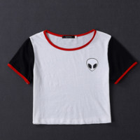 Hot sale fashion  aliens print casual round neck crop T-shirt
