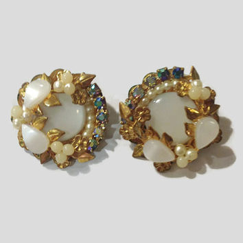 1950s Earrings / Vintage Moonglow Lucite Thermoset, Faux Pearl, and Faux Sapphire Cluster Clip Earrings