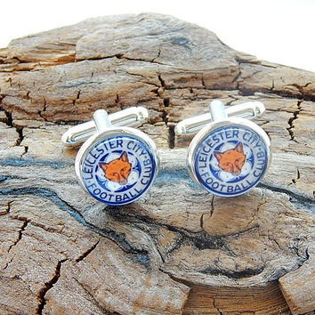 Leicester City Football Club logo Cufflinks, Football fan cufflinks, sports cufflinks, English football logo, football teams, Premier League