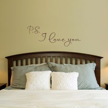 P.S. I Love You Wall Decal - Love Decal - Bedroom Wall Sticker - Medium