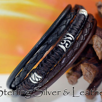 B-041 Aussie Made Sterling Silver & Leather New Wristband Bangle Men Bracelet