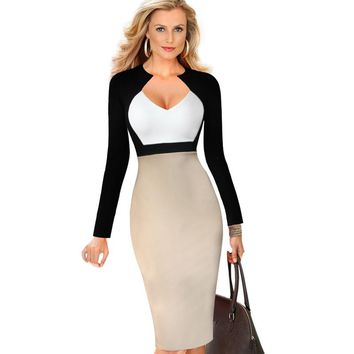 eSale Womens Elegant V Neck Colorblock High Waist Slimming Cotton Tunic Wear to Work Office Sheath Pencil Wiggle Dress CG1612