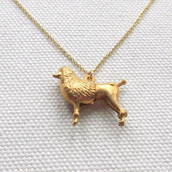 Gold Poodle Necklace Cute Tiny Dog Charm Necklace Minimalist Dainty 14k Gold Fill Necklace Modern Jewelry
