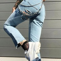 New Blue Cut Out Chain High Waisted Fashion Jeans Pants