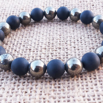Pyrite Men Bracelet Classy Cool Men's Bracelet Simple Man Bracelet Stone Matte Black Onyx Bracelet Protection Gemstones Gifts For Him