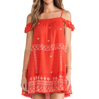 Free People Embroidered Flounce Dress in Red