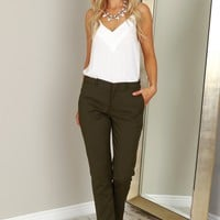 Straight Leg Trousers Olive