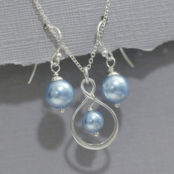 CUSTOM COLOR Infinity and Swarovski Light Blue Pearl Necklace and Earring Set, Bridesmaid Jewelry, Bridesmaid Gift, Maid of Honor Gift