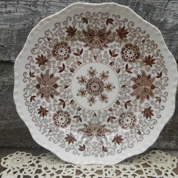 "Masons Bow Bells Dinner Plate, 10.75"",  Brown Aesthetic, English, Transferware"