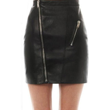 New Women Faux Leather High Waist Skirts Zipper   Pencil Mini Skirt Women Faldas Korean Fashion Saias Femininas SM6
