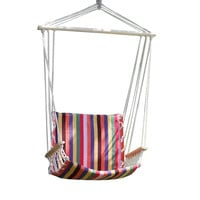 Naval-Style Cotton Fabric Canvas Hammock Tree Hanging Suspended Outdoor Indoor Chair Antigua / Red Color 17 inches Wide Seat
