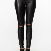 Solid Black Faux Leather Cut Out Leggings @ Cicihot Pants Online Store: sexy pants,sexy club wear,women's leather pants, hot pants,tight pants,sweat pants,white pants,black pants,baggy pants