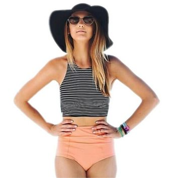 Bikini Set Sport Tank Striped Top + High Waisted Pink/Orange Bottom Summer high waist swimwear
