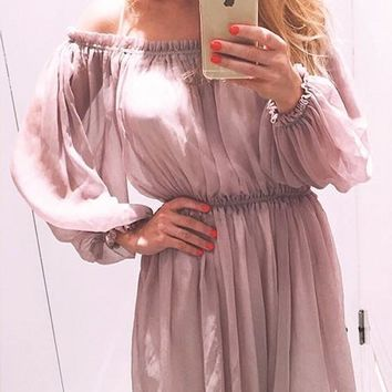 Streetstyle  Casual Pink Double-deck Boat Neck Long Sleeve Flowy Elegant Mini Dress