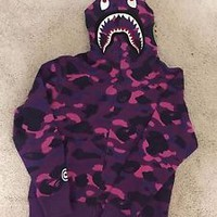 BAPE Shark Hoodie - Purple Camo - Large  **Read Description Please**