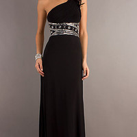 One Shoulder Black Long Dress