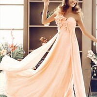 One shoulder Flower decorated Pink Evening gown from WeiweiK