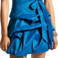 Strapless Taffeta Bubble Dress with Pick-Ups Formal Gown Prom Dress