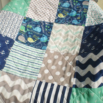Nautical baby quilt,Modern handmade newborn crib quilt,baby boy bedding,navy,grey,mint,whales,anchors,playmat,blanket,chevron,Nautical Laddy