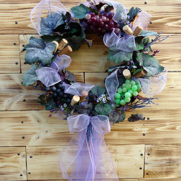 "Rustic Tulle Wrapped Wreath - ""Taste of Wine Country"", Wine Themed, Kitchen, Gift, Grapes, Corks,Rustic, Natural, Theme, Housewarming,"