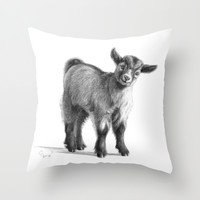 Goat baby G097 Throw Pillow by S-Schukina