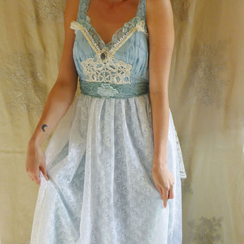 Fae Wedding Gown or Formal Dress... Size Large... fairy whimsical fantasy alternative hippie eco friendly recycled free people