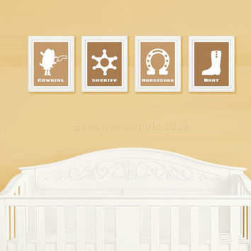 Cowgirl Nursery Decor | Geeky Nursery prints | Geeky kids room poster | Kids room decor | baby shower gift | custom color available