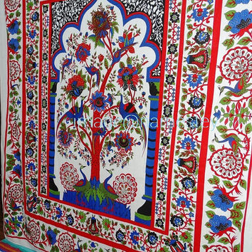 Indian Tree of Life Hippie Tapestries,Wall Hanging, Cotton Bedspread Bed Sheet Cover,  Tree Of Life Tapestry ,Peacock tree Of life ,wall art