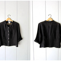 Minimal Black Linen Blouse Button Up SHEER 90s Boxy Top Vintage Long Sleeve Thin Linen Blouse Simple Modern Shirt Womens Medium