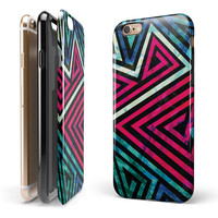 Grungy Neon Triangular Zig Zag Shapes iPhone 6/6s or 6/6s Plus 2-Piece Hybrid INK-Fuzed Case