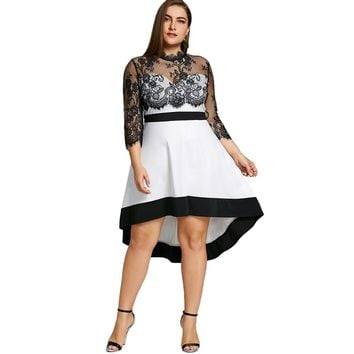 LANGSTAR 2018 Plus Size 5XL Sexy Floral Lace Sheer High Low Dress Women 3/4 Sleeve Vintage Night Party Club Mesh Dress Big Size