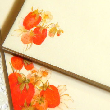 Vintage Strawberry Stationery. Strawberry Note Paper. Writing Paper. Letter Paper. Stationery Set. Planner Stationery. Junk Journal Paper.