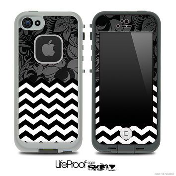 Mixed Black Floral Pattern and Chevron Pattern Skin for the iPhone 5 or 4/4s LifeProof Case
