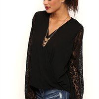 Long Lace Bell Sleeves Surplice Front Top