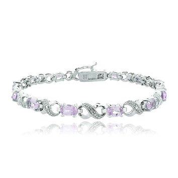 KJ Bracelet Fashion Jewelry Oval Cut 6.00 CTTW Gemstone Infinity Shaped Bracelet in 18K White Gold Plating - 5 Options
