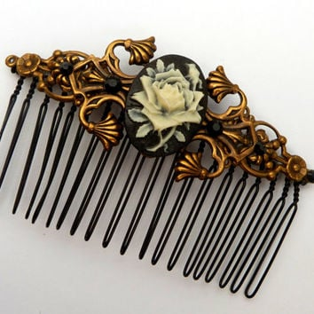 Big cameo hair comb with Rose antique-style bridal hair accessories baroque OOAK