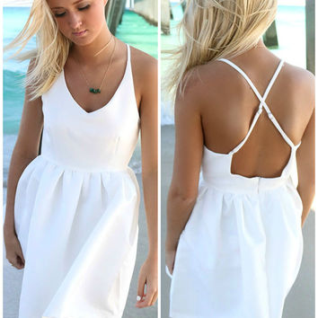 Feeling Flirty White Babydoll Criss Cross Back Party Dress