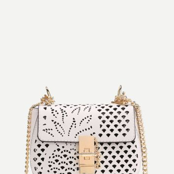 White Handbag with Laser Cut Pineapple and Chain Strap