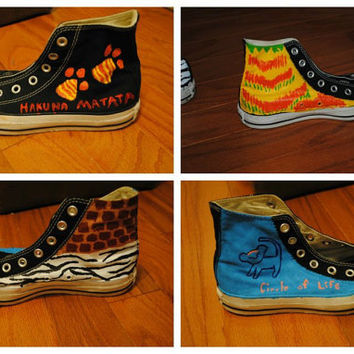 Cute Lion King Hand-Painted Shoes WOmens sz. 7