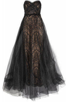 Marchesa|Tulle and lace gown|NET-A-PORTER.COM