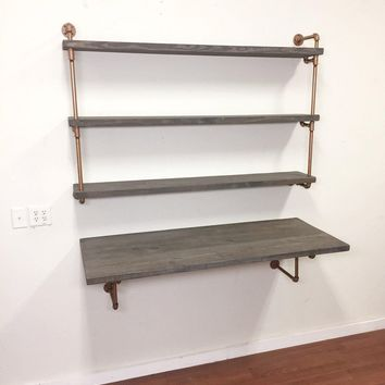 Floating Desk - wall mounted desk - industrial desk - industrial chic desk and industrial shelves - industrial style desk-  modern desk