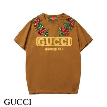"GUCCI 2019 early spring new ""Gucci-Dapper Dan"" printed short-sleeved T-shirt Coffee"