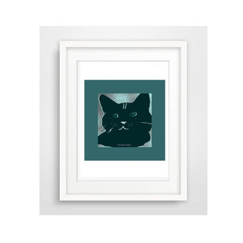 Printable Wall Art / Cool Black Cat Art / Ready To Download / Create Greeting Cards / Creative Collage  Projects