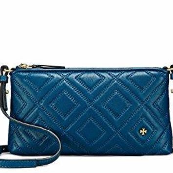 Tory Burch Fleming Quilted Leather Chain Crossbody Handbag in Symphony Blue