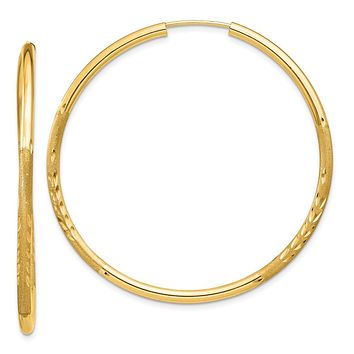2mm x 44mm 14k Yellow Gold Satin Diamond-Cut Endless Hoop Earrings