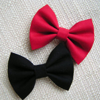 Red and Black fabric bow clips, baby bows, Bows, small fabric hair bows, red bow, black bow, kids bows, bows for girls, cotton bows